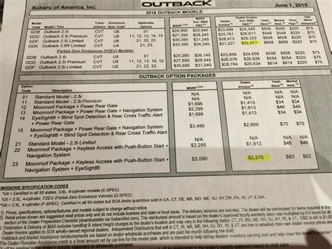 subaru outback 2015 invoice subaru outback invoice price 2015 invoice template ideas