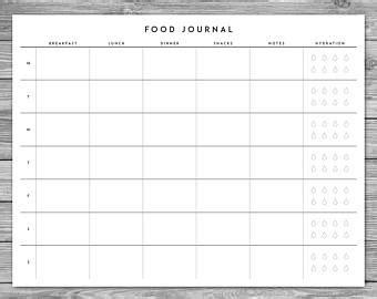 printable calorie intake journal food log etsy