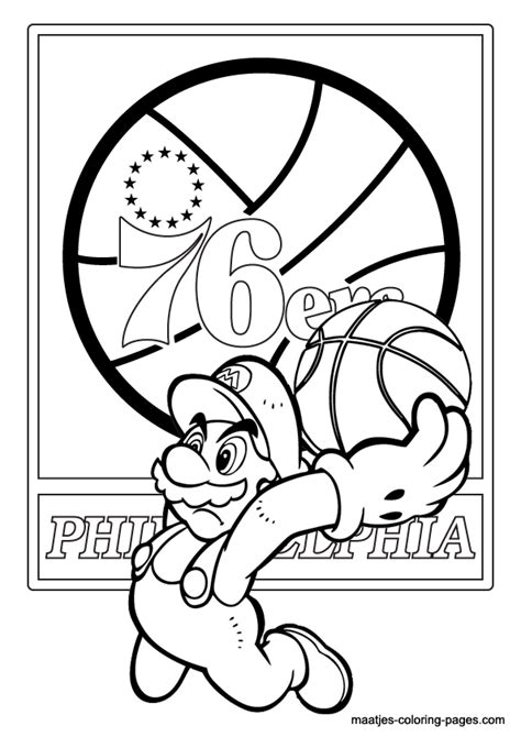 mario basketball coloring page philadelphia 76ers and super mario nba coloring pages