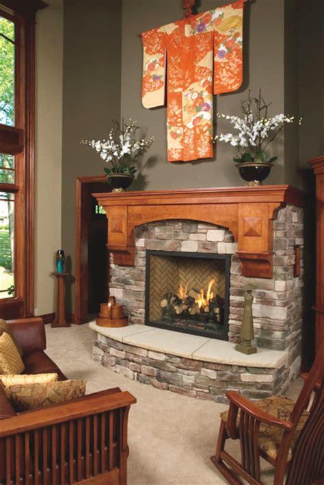 mission style birch fireplace mantel