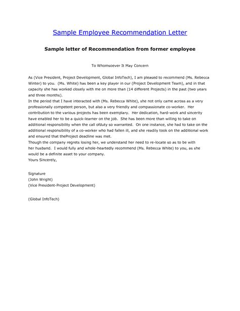 9 recommendation letters for employment free sample example