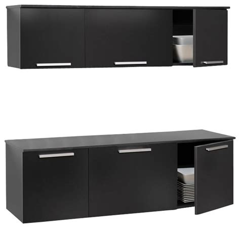 prepac coal harbor black wall mounted buffet and hutch