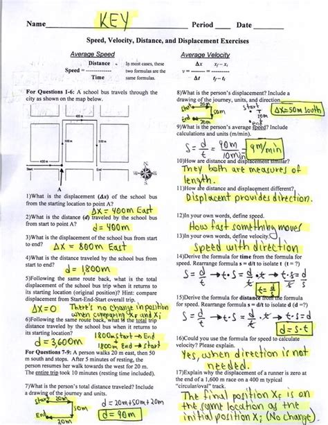 distance and displacement worksheet with answers displacement vs distance worksheet answer key lesupercoin printables worksheets