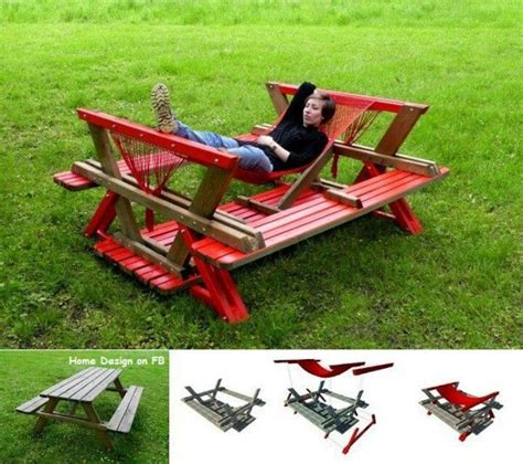 upside down bench upside down picnic table turned hammock diy pinterest