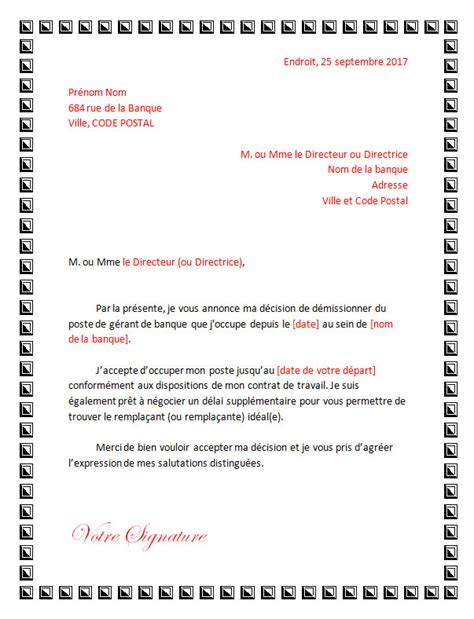 Exemple Lettre De Demission Nounou A Domicile modele lettre de demission gerant document