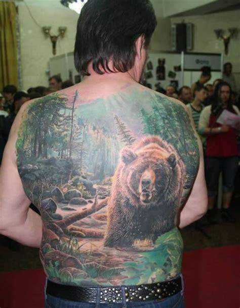 Back Tattoo Bear | bear back tattoo