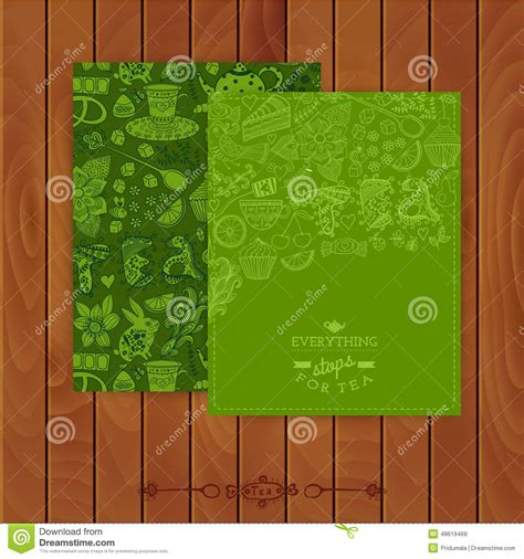 Sweet Pattern Card 6 green tea branding design set of floral cards sweet pattern c stock vector image 49619469