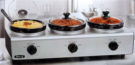 New Bella 3 Triple Slow Cooker Buffet Warmer Server Ebay Cooker Buffet And Serve