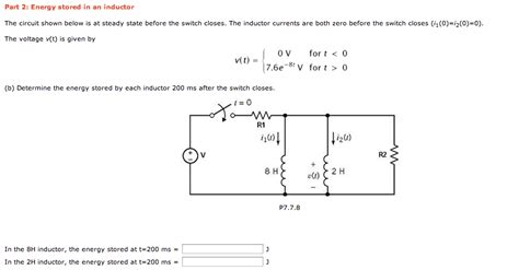 inductor questions and answers energy stored in an inductor the circuit shown bel chegg