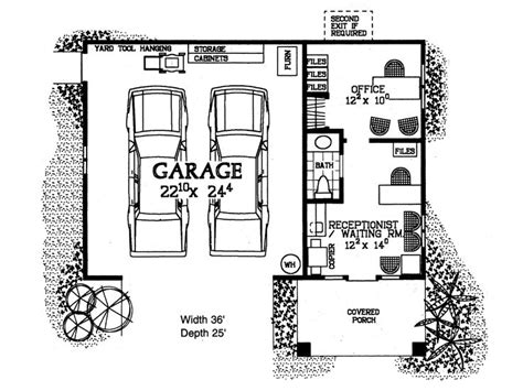 Garage Plans With Office by 2 Car Garage Plans Country Traditional Two Car Garage