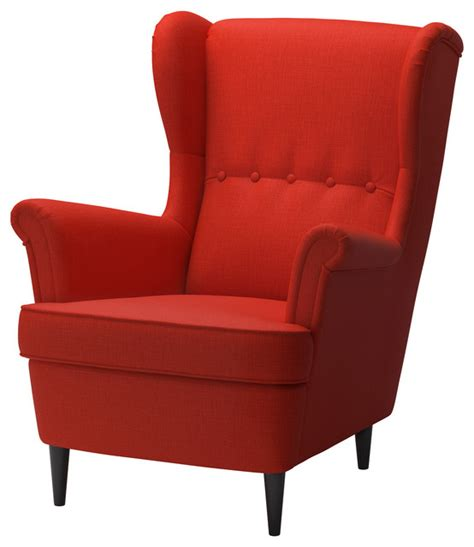 strandmon wing chair leather strandmon wing chair skiftebo orange contemporary