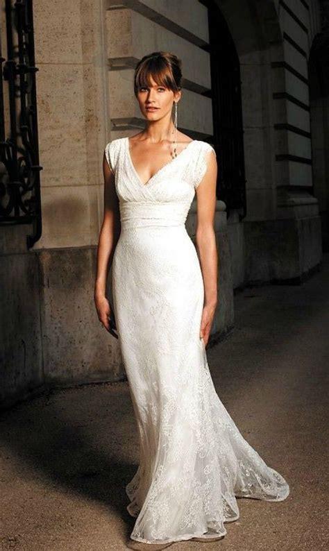 elegant lace  neck wedding dress  older brides