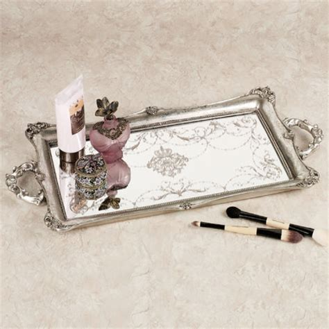 Silver Dresser Tray by Letitia Silver Finish Mirrored Vanity Tray Traditional Bathroom Organizers By Touch Of Class