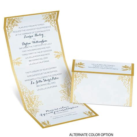 Gold Wedding Invitation Cards by Ferns Of Gold Seal And Send Invitation S Bridal Bargains