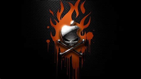 wallpaper apple skull apple skull with fire wallpapers 1920x1080 377637