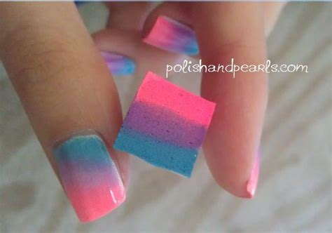 easy nail art using sponge nails sponge nail rainbow this is so cool paint three