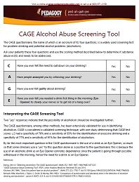 printable cage questionnaire cage alcohol abuse screening tool online continuing
