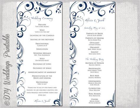 Wedding Program Template Navy Blue Instant Download Program Template