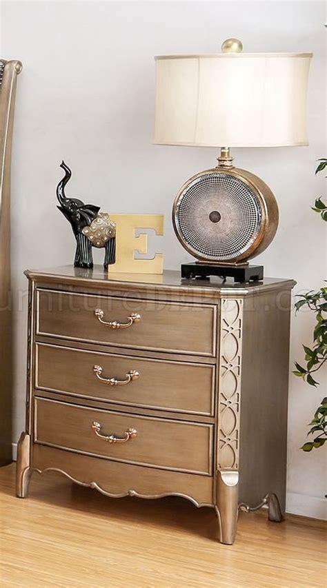traditional 5pc bedroom set w options celine 5pc bedroom set cm7432 in brushed gold color w options