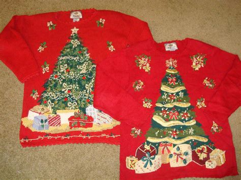images of christmas hers vtg couples matching his hers ugly christmas sweaters s