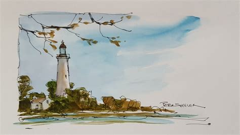 watercolor lighthouse tutorial a quick and fun pen and wash demonstration of a