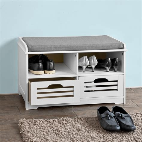 2 cube storage bench sobuy 174 shoe storage bench with 2 drawers 2 storage cubes