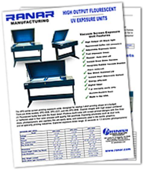 Screen printing Exposure Units, Vacuum, Black light ... Exposures Frames Catalog