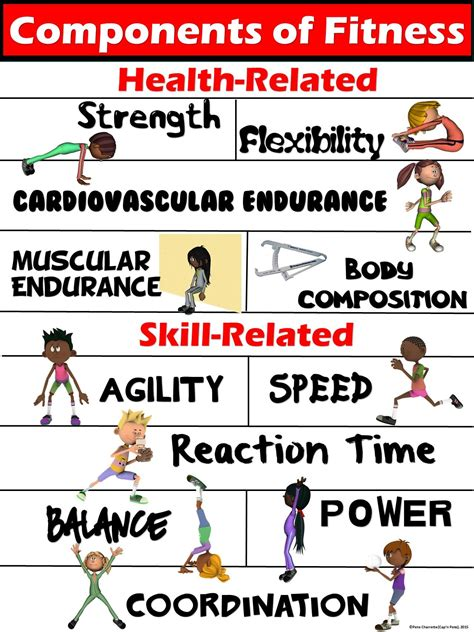 pe poster components of fitness health and skill related
