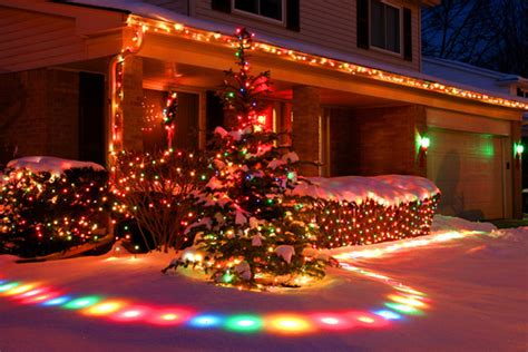 outdoor christmas lights snowfall effect colorful christmas snow lights effects pictures photos