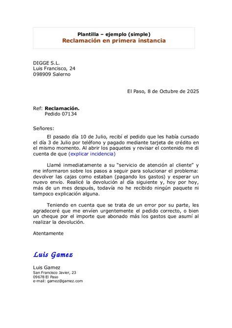 carta formal de reclamacion carta reclamacion