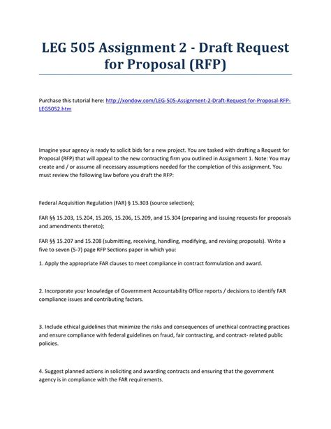 Leg 505 Assignment 2 Draft Request For Proposal Rfp Strayer University New Proposals Legs Draft Rfp Template