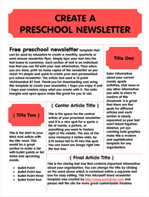Free Preschool Newsletter Template Worddraw Com Monthly Preschool Newsletter Template