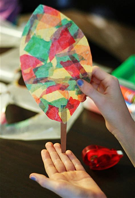 Wax Paper Craft Ideas - wax paper leaf sun catchers make and takes