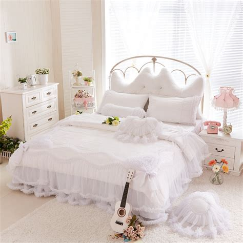Luxury Snow White Bedding Sets Queen King 4pcs Lace Ruffle Snow White Bed Set