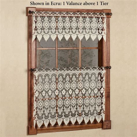 Macrame Valance medallion macrame lace tier window treatment