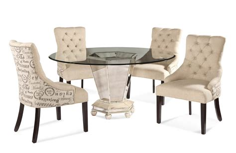 Fabric Chair Dining Set Reflections Dining Set With Script Fabric Chairs Antique Silver Mirror Finish D2055 000