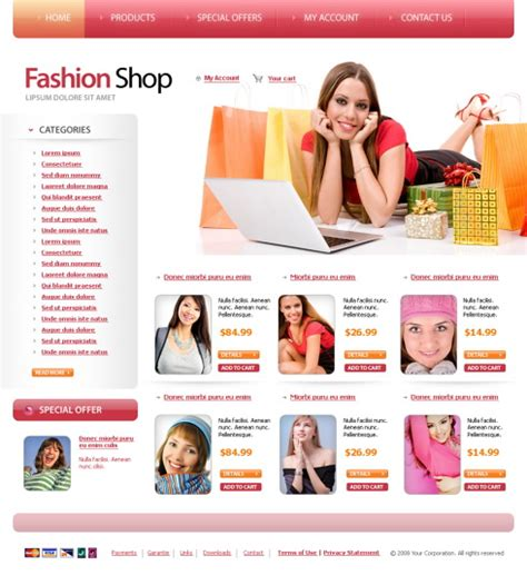 templates for clothing website fashion shep web template 6081 beauty fashion