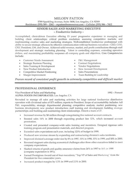 sales executive resume sle