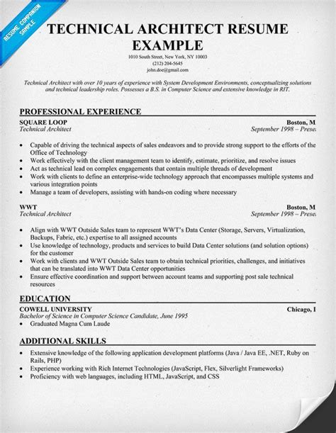 Java Architect Description by Technical Architect Resume Exle Http Jobresumesle 633 Technical Architect Resume
