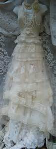 Vintage Opulence lace wedding dress ivory tulle vintage boho small medium by vintage opulence on