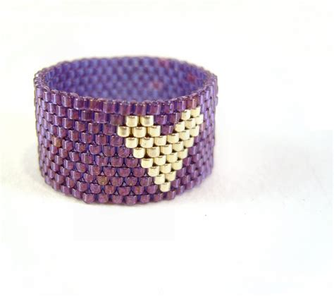 bead jewelry rings purple ring beaded jewelry silver seed bead
