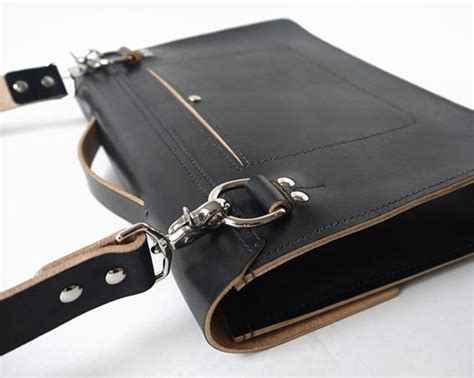 handmade black leather messenger bag veg basader