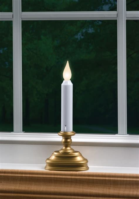 warm white antique gold battery operated window candle