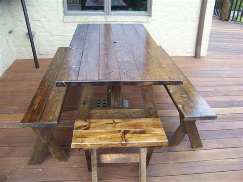 picnic table as dining room table daodaolingyy