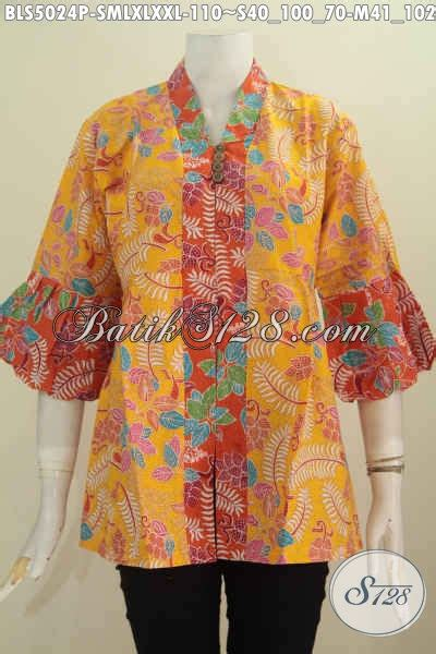 Blus Rok Batik Warna Kode Ba5281 pakaian batik model blus lengan balon busana batik wanita