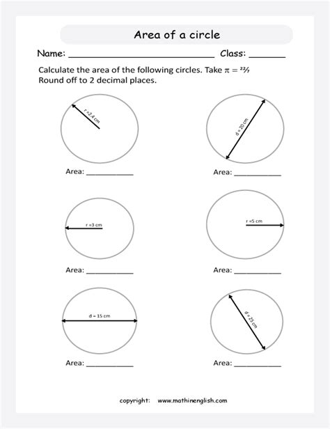 printables area and circumference of a circle worksheet