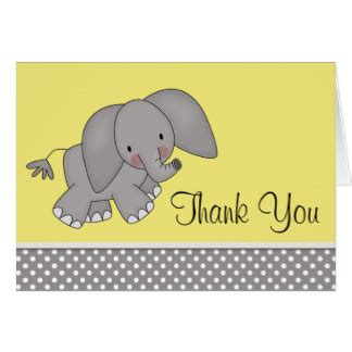 elephant thank you card template yellow elephant thank you cards