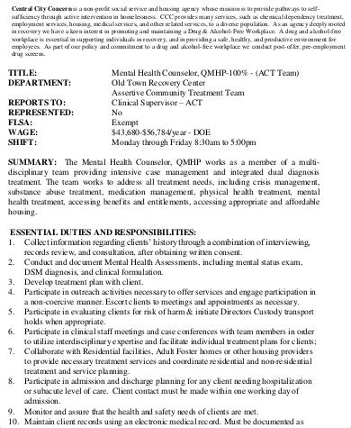 Residential Counselor Description by Mental Health Counselor Description Sle 8 Exles In Word Pdf