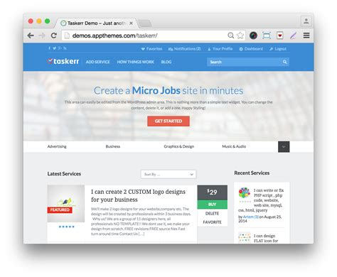 wordpress layout positions wordpress micro jobs theme download taskerr for 25