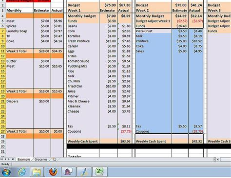 Grocery Spreadsheet by Pin By Shannon Jones On Family Budget